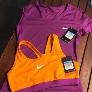 Nike Dri-fit women's top and sports bra